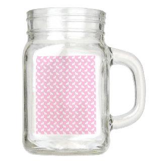 Weiße Osterhasen auf Rosa Einmachglas