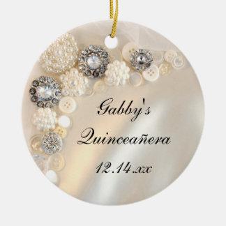 Weiße Perlen-und Diamant-Knöpfe Quinceañera Keramik Ornament