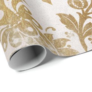 Weiße perlige GoldblumenHütten-Grungy Damast Geschenkpapier