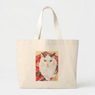 Weiße persische Katze auf einem roten persischen Jumbo Stoffbeutel