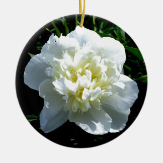 Weiße Pfingstrose Keramik Ornament