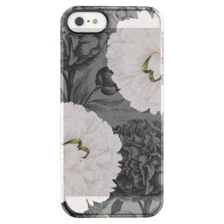 Weiße Pfingstrosen-graues romantisches Durchsichtige iPhone SE/5/5s Hülle