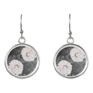 Weiße Pfingstrosen-graues romantisches Ohrringe