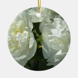 Weiße Pfingstrosen Keramik Ornament
