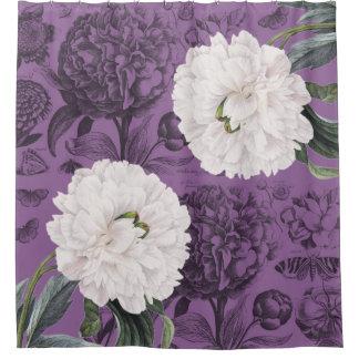 Weiße Pfingstrosen-lila romantisches Duschvorhang
