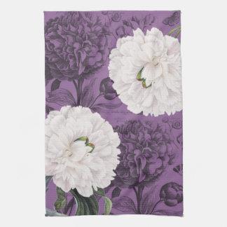 Weiße Pfingstrosen-lila romantisches Küchentuch