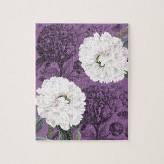 Weiße Pfingstrosen-lila romantisches Puzzle