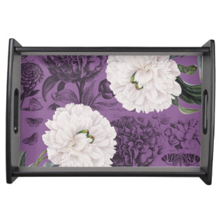 Weiße Pfingstrosen-lila romantisches Tablett