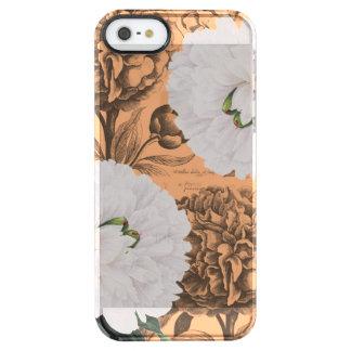 Weiße Pfingstrosen-orange romantisches Durchsichtige iPhone SE/5/5s Hülle