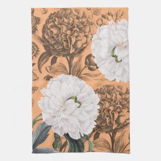 Weiße Pfingstrosen-orange romantisches Handtuch
