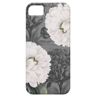 Weiße Pfingstrosen-romantisches Grau Barely There iPhone 5 Hülle