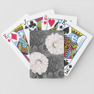 Weiße Pfingstrosen-romantisches Grau Bicycle Spielkarten