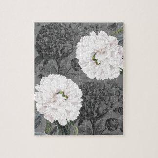 Weiße Pfingstrosen-romantisches Grau Puzzle