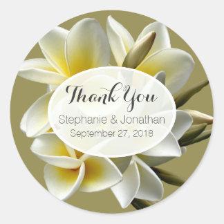 Weiße Plumeria-Hochzeit danken Ihnen Aufkleber zu