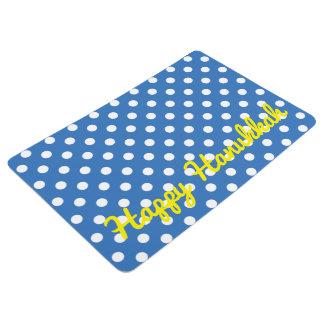 Weiße Polka-Punkte auf mittlerem blauem Bodenmatte