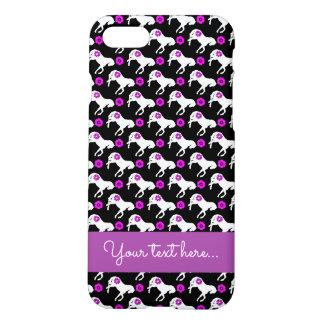 Weiße Ponys und lila Blumen-Muster iPhone 8/7 Hülle