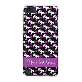 Weiße Ponys und lila Blumen-Muster iPod Touch 5G Hülle
