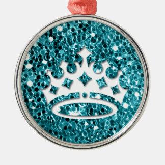 Weiße Prinzessin Crown auf Aqua-Glitzer-Blick Silbernes Ornament