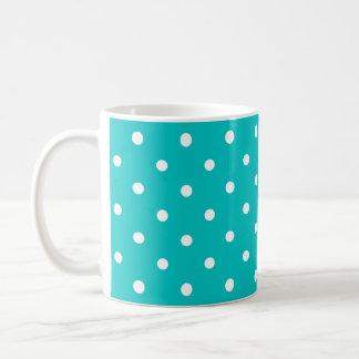 Weiße Punkte, aquamarines Polka-Punkt-Muster Kaffeetasse