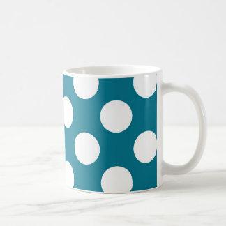Weiße Punkte auf Blau - Retro Art Tasse