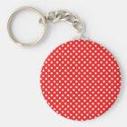 weiße Punkte auf rot Schlüsselanhänger