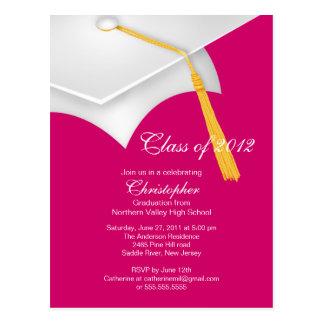 Weiße rosa Absolvent-Kappen-Abschluss-Party Postkarte