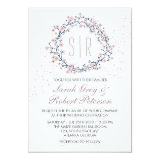 Weiße rosa Blumewreath-Hochzeits-Einladung Karte