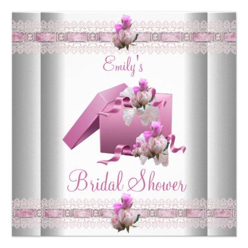 Weiße rosa Geschenke des Brautparty-Polterabends Ankündigungskarten