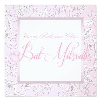 Weiße rosa Schläger Mitzvah Einladungen