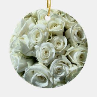 Weiße Rose Blumenstrauß-Verzierung Keramik Ornament