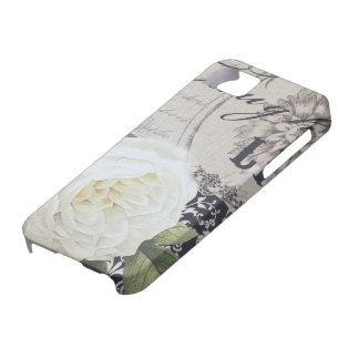 weiße Rose Paris der Vintagen girly Blumenskripte Etui Fürs iPhone 5