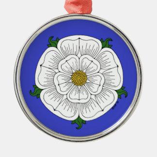 Weiße Rose von York Silbernes Ornament
