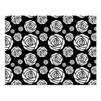 Weiße Rosen auf Schwarzem Postkarte