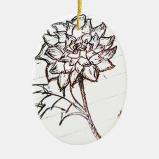 weiße Rosen-Blume Keramik Ornament