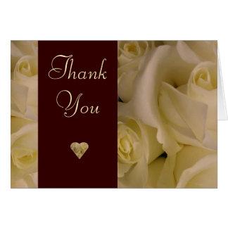 Weiße Rosen danken Ihnen zu kardieren Karte
