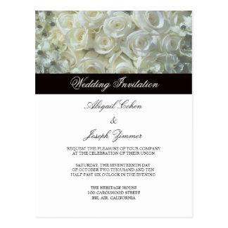 Weiße Rosen, die Einladungs-Postkarten Wedding sin Postkarten