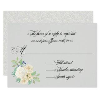 Weiße Rosen-elegantes Blumenhochzeit UAWG 8,9 X 12,7 Cm Einladungskarte