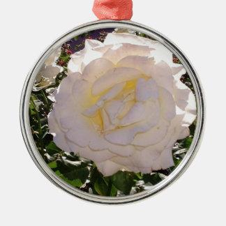 Weiße Rosen-Fotografie durch JanLynn Silbernes Ornament