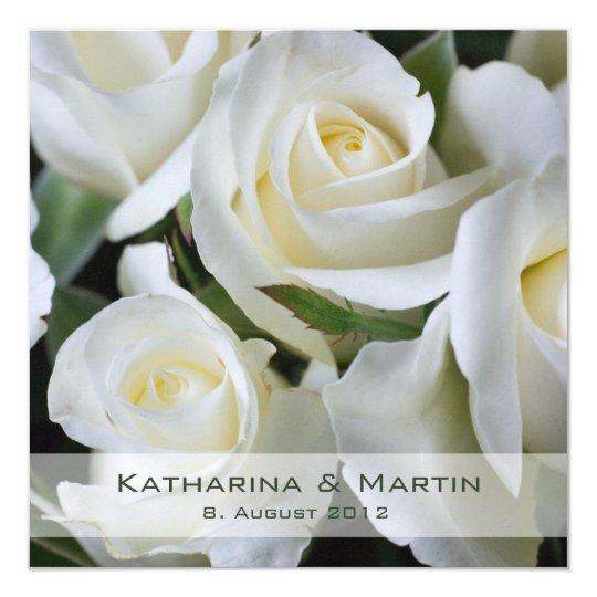 Weiße Rosen • Hochzeits-Einladung Quadratische 13,3 Cm Einladungskarte