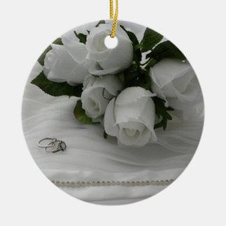 Weiße Rosen Keramik Ornament