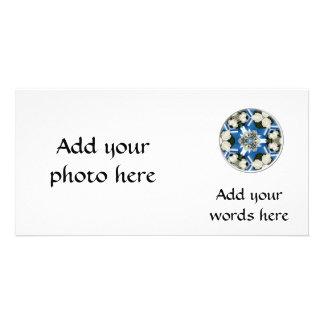 Weiße Rosen u. blaue Band-Kaleidoskop Karte
