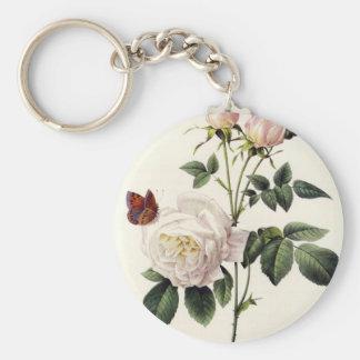 weiße Rosen und Schmetterlinge, Pierre Joseph Schlüsselanhänger