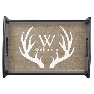 Weiße Rotwild-Geweih-Leinwand personalisiert Tablett