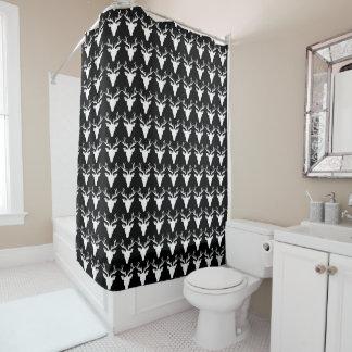 Weiße Rotwild-kundenspezifischer schwarzer Duschvorhang
