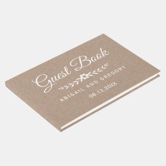 Weiße rustikale Hochzeit Tintentypographie-braunen Gästebuch