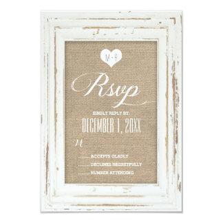 Weiße rustikale Rahmen-Leinwand-Hochzeit UAWG 8,9 X 12,7 Cm Einladungskarte