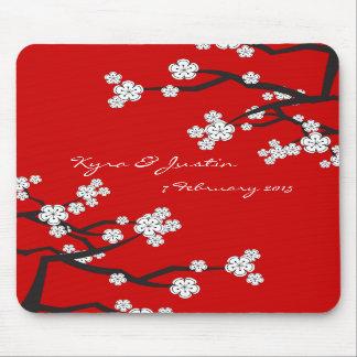 Weiße Sakuras Blumen-kundenspezifische Bevorzugung Mauspad