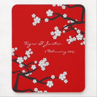 Weiße Sakuras Blumen-kundenspezifische Mauspad