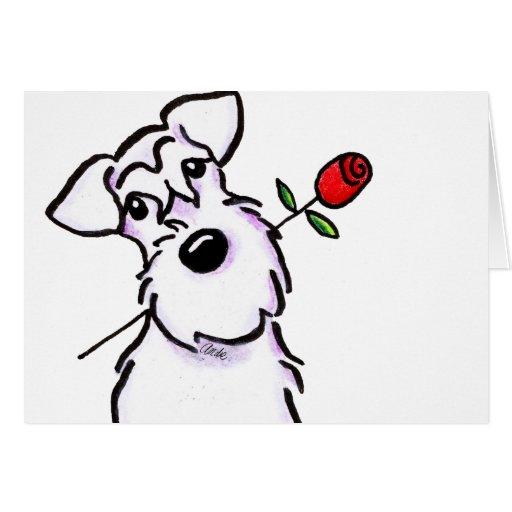 Weiße Schnauzer-Schatz-Rose Grußkarte