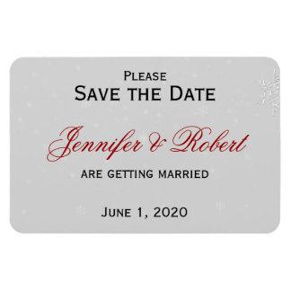 Weiße Schneeflocke-silberne Hochzeit Save the Date Magnet